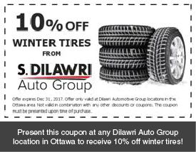 Present this coupon at any Dilawri Auto Group location in Ottawa to receive 10% off winter tires!